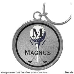 Monogrammed Golf Tee Silver Keychain Golf Accessories, Personal Shopping, Custom Buttons, Keep It Cleaner, Cool Designs, Monogram, Man Shop, Personalized Items, Key Chains