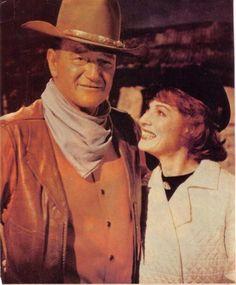 Maureen visits Duke on the set of The War Wagon,
