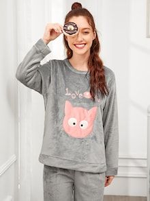 To find out about the Cat Embroidered Plush Pajama Set at SHEIN, part of our latest Pajama Sets ready to shop online today! Pajama Party, Pajama Set, Pajama Pattern, Taffeta Dress, Young Models, Pajama Shorts, Pajamas Women, Grey Fashion, Unisex