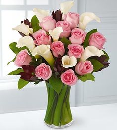 Callas and Pink roses, just a beauty!