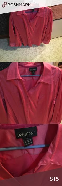 Pink Lane Bryant Button Down This is a button down top from Lane Bryant. It probably does need pressed to look super chic! But it is a size 18/20. It's 97% cotton and 3% spandex. Never worn. Lane Bryant Tops Button Down Shirts