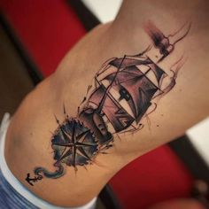 Ship & Compass Tattoo by Jean Alvarez