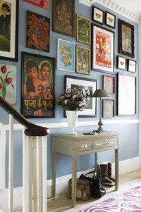 Chose this because we have a dado rail! I like the blue wall colour and then the eclectic mix of pics/paintings. I could see myself doing something like this with pictures on the stair wall.