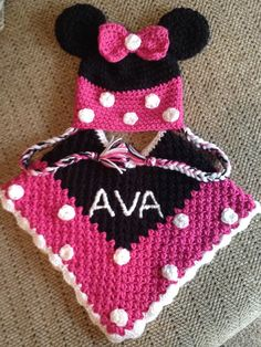 Minnie Mouse poncho & hat I made for my granddaughter