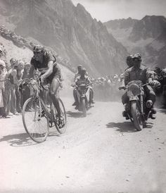 Road race or cyclo cross?? ;-)  1949 Tour de France, Stage 11. Not so much troden path as ridden.