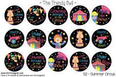 Summer Circus <3 Shop our Digital Bottle Cap Images @ www.thetrendyowl.com!