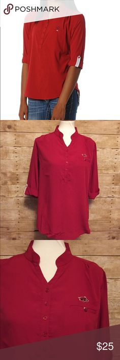 Women's Arkansas Razorbacks Button Down Tunic Top Brand new with tags. Size:  Medium   100% Polyester  3/4 RollUp Sleeves Mandiran Collar Button Down UG Apparel Tops Button Down Shirts