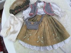 Alte-Puppenkleidung-Cord-Skirt-Top-Outfit-vintage-Doll-clothes-45-cm-Girl