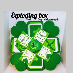 """""""St. Patrick's Day Exploding box SVG Digital download Cricut"""" How To Use Cricut, Insert Image, Exploding Boxes, Cricut Tutorials, Explosion Box, All Holidays, Pocket Cards, Heart Cards, Pop Up Cards"""