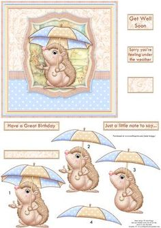 UNDER THE WEATHER Get Well Soon Topper Decoupage on Craftsuprint designed by Janet Briggs - 6x6 card topper with 3d step by step decoupage.Features a cute hedgehog with umbrella.Ideal for a birthday, general card, or particularly Get Well Soon.Sentiment tags include two blank in different shapes. The others read,Get Well SoonSorry you're feeling under the weatherHave a Great BirthdayJust a little note to say.