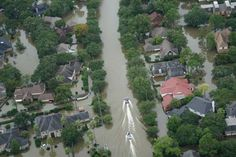 """""""You're rolling the dice every year,"""" says professor Kerry Emanuel. """"And we believe the odds of a flood like Harvey are changing."""" Pictured is an aerial view of Houston during the Hurricane Harvey flooding."""