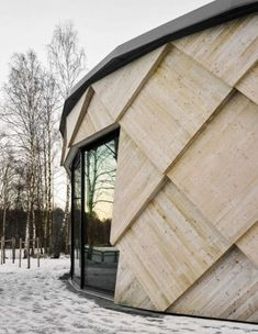 Tengbom'S shingled trail centre is modelled on a pine cone facade architecture, amazing architecture, Architecture Design, Timber Architecture, Facade Design, Amazing Architecture, Contemporary Architecture, Landscape Architecture, Exterior Design, Layered Architecture, Natural Architecture