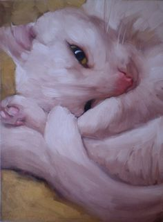 Charlie white cat painting pet portrait, painting by artist Diane Hoeptner