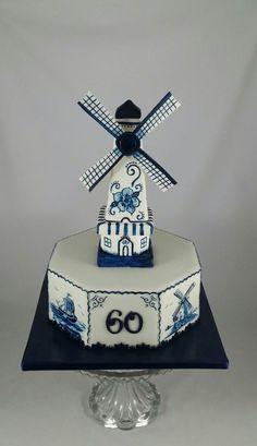 Handpainted Dutch Delft Blue Cake