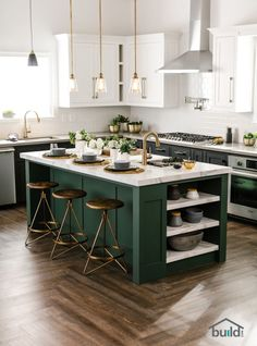 a black and white kitchen with a dark green kitchen island that adds color to. 12 a black and white kitchen with a dark green kitchen island that adds color to. - a black and white kitchen with a dark green kitchen island that adds color to. Green Kitchen Cabinets, New Kitchen, Green Kitchen Island, Dark Cabinets, Dark Green Kitchen, Kitchen Backsplash, Kitchen White, Kitchen Countertops, Floors Kitchen