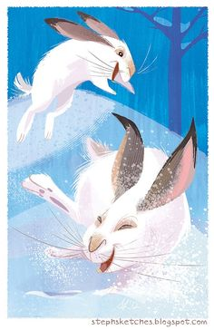 Stephanie Laberis. Illustrated bunnies frolicking in the snow. Love the expression and movement!