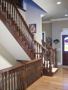 stair landing and rail  Baluster: G9  Newel: G5  Rail: S  Stair Style:  Open End  Starting Application: Square