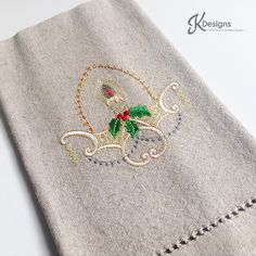 Beige Candle Holly Hand Towel,custom embroidery,hand towel,embroidery hand towel,beige towel,candle,red,green,Christmas,holiday decor by JollieSweets on Etsy
