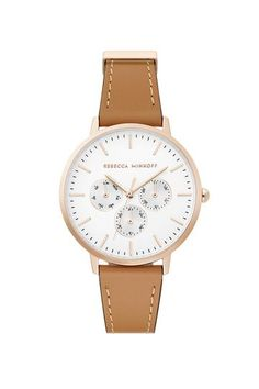 Rebecca Minkoff Major Rose Gold Tone Honey Strap Watch, in White Wide Face, International Shopping, Celebrity Moms, Go Shopping, Rebecca Minkoff, Jewelry Watches, Rose Gold, Celebrities, Leather