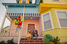 An anniversary photo shoot in the official recreation of the Up house in Utah!