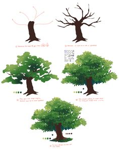 ahouli-lia: creepus: Anonymous asked you: Hey, is it okay if you like do a tutorial on trees and shrubs? PS: I looooooove your art and tutorial they are just soooooo wonderful, inspiratonal, amazing. aww thank you so much!! ;v; haha well I don't know a lot of trees so here's two I actually know lmao, oak tree and pine tree I will go study more tree names when I have the time ohgosh _(:3 7 hope it helps! Hey, mais c'est trop simple en fait !! ahah —'