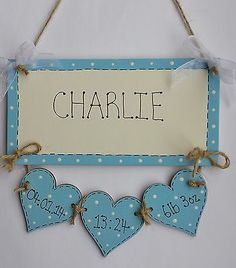 Shabby Chic Personalised New Baby Boy Birth Plaque Sign Gift Keepsake