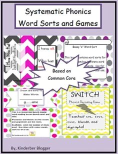 Systematic Phonics Word Sorts and Games. Research based engaging lessons for use all year long!