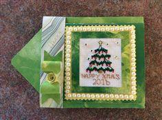 Cross Stitch Christmas Card with Christmas Tree made by Karen Miniaci.