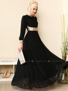 Yakasi And Menset Gold Chiffon Abiye Dress - Black - MODAYSA