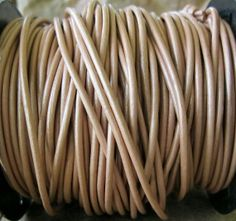 2MM Metallic Nude Blush Leather Cord  Round by jewelrycatsupplies, $7.50
