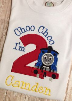 Thomas The Train Birthday Shirt Applique Embroidery on Etsy, $28.00