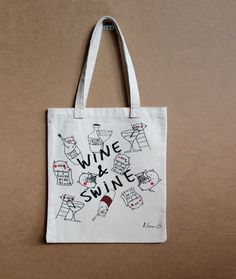 Tote bag wine - funny grocery canvas tote bag - pig cotton tote bag - wine lover grocery bag - cotton bag recycled - gift for wine lover by MashUpArt on Etsy https://www.etsy.com/listing/474721386/tote-bag-wine-funny-grocery-canvas-tote