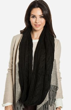 Cable Knit Infinity Scarf | DAILYLOOK
