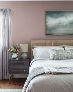 Photo shared by Carmit Oron Interior Design on Instagram @carmitoroninteriordesign on July 10, 2021. Beautiful bedroom featuring Tonic Living Bed Pillow Pink Accent Walls, Pink Bedroom Walls, Accent Wall Bedroom, Bedroom Decor, Bedroom Inspo, Bedroom Ideas, Beautiful Bedroom Designs, Bedroom Design Inspiration, Beautiful Bedrooms