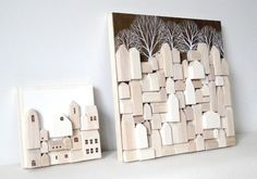 miniature wood houses - love this idea ... a winter's evening project :)