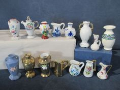 Miniature Vases Pitchers Urns Dollhouse Diorama Occupied Japan Floral Lot of 15
