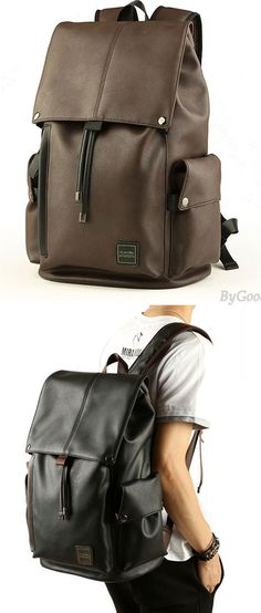 Leisure Men's PU Leather Draw String Large School Bag With USB Interface Capacity Flap Hiking Backpack for big sale! #backpack #Bag #college #rucksack #large
