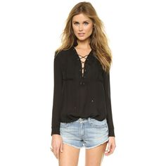 Haute Hippie Gypsy Lace Up Blouse ($325) ❤ liked on Polyvore
