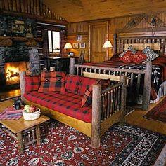 Vacation Cabin Log Cabin Bedrooms, Log Cabin Homes, Log Cabins, Adirondack Decor, Cabin Interiors, Rustic Cabin Decor, Cabins And Cottages, Home Bedroom, Decoration