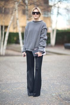 Oversized grey sweater, bootcut jeans, cool sunglasses. London Fashion Week 2014