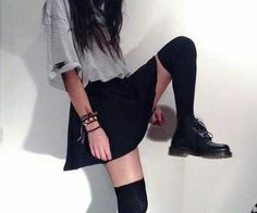 Black skirt and boots