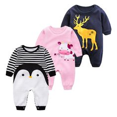 06c19d3799c4 2018 Spring Autumn long sleeved cotton Romper baby clothes children s  clothing cartoon Penguin baby animal girl