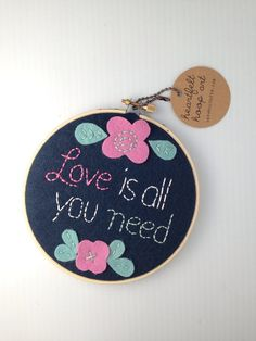 Love is all you need hoop art by CatshyCrafts on Etsy