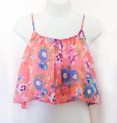 Stunning Pink Floral Floaty Summer Crop Top UK by BrookandEnvy