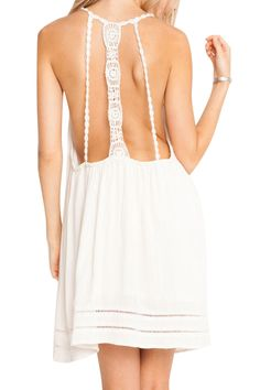 Backless Lace Splicing Solid Color Sleeveless Dress