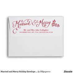 Married and Merry Holiday Envelope w. Photo Liner