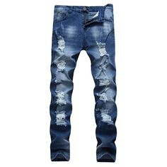 2017 New Fashion Hiphop Skinny Jeans Casual Washed Trousers Solid Color Men Hole jeans Men Cotton Pants Skinny Jeans Casual, Ripped Jeans Style, Lässigen Jeans, Ripped Jeans Men, High Jeans, Biker Jeans Men, Slim Fit Mens Jeans, Blue Jeans Mens, Hip Hop