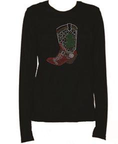 Rhinestone Christmas Cowgirl Boot Lightweight LongSleeve T-Shirt   Lkct