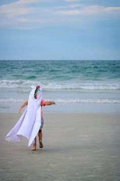 Unicorn will make any little girl happy! You can't buy her the unicorn she's been wanting, but you can make getting warm and dry a bit more magical. Swim Lessons, Beach Kids, Polar Fleece, Rainbow Colors, Baby Animals, Hoods, Little Girls, Twins, Towel