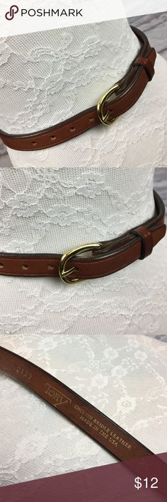 """🆕 Vintage TORY Bridle Leather Tan Belt USA Sz 24 Beautiful Vintage Belt in LIKE NEW Condition!! Appears to have never been worn. Lovely. Brown Tory Belt with Gold Accents. Made in the USA. English bridle leather with solid brass buckle. GORGEOUS Belt!! Size 24. To first hole 23 1/2"""" to last hole 26 1/4"""". Smoke free home! Vintage Accessories Belts"""